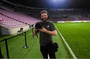 14 October 2019; Sportsfile photographer Stephen McCarthy as photographed by Republic of Ireland manager Mick McCarthy following a Republic of Ireland training session at Stade de Genève in Geneva, Switzerland. Photo by Mick McCarthy/Sportsfile
