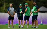 15 October 2019; IRFU Performance Director David Nucifora, left, with the Ireland coaching group, from 2nd left, head coach Joe Schmidt, scrum coach Greg Feek and defence coach Andy Farrell during Ireland Rugby squad training in Arcs Urayasu Park in Urayasu, Aichi, Japan. Photo by Brendan Moran/Sportsfile