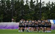 15 October 2019; The Ireland team huddle during squad training in Arcs Urayasu Park in Urayasu, Aichi, Japan. Photo by Brendan Moran/Sportsfile
