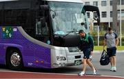 15 October 2019; Rob Kearney, left, and Peter O'Mahony arrive for Ireland rugby squad training in Arcs Urayasu Park in Urayasu, Aichi, Japan. Photo by Brendan Moran/Sportsfile