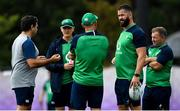 15 October 2019; IRFU Performance Director David Nucifora, left, with the Ireland coaching group, from 2nd left, head coach Joe Schmidt, scrum coach Greg Feek, defence coach Andy Farrell and kicking coach Richie Murphy during Ireland Rugby squad training in Arcs Urayasu Park in Urayasu, Aichi, Japan. Photo by Brendan Moran/Sportsfile