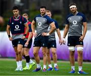 15 October 2019; Robbie Henshaw, centre, with Conor Murray, left, and Iain Henderson during Ireland Rugby squad training in Arcs Urayasu Park in Urayasu, Aichi, Japan. Photo by Brendan Moran/Sportsfile