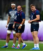 15 October 2019; Garry Ringrose, right, with Rory Best and Iain Henderson during Ireland Rugby squad training in Arcs Urayasu Park in Urayasu, Aichi, Japan. Photo by Brendan Moran/Sportsfile