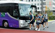 15 October 2019; Ireland players Tadhg Beirne, left, and Bundee Aki arrive for during squad training in Arcs Urayasu Park in Urayasu, Aichi, Japan. Photo by Brendan Moran/Sportsfile