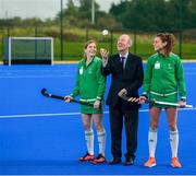 14 October 2019; Minister for Sport Shane Ross, T.D. in attendance alongside Ireland hockey players Katie Mullan, left, and Deirdre Duke at the official opening of the Sport Ireland Hockey Training Centre at the Sport Ireland Campus in Abbotstown, Dublin. The new state of the art hockey provides a welcome boost to Ireland's national hockey teams ahead of their upcoming Tokyo 2020 qualification matches. The Polytan Polygras Toyko GT surface is the same as that being used at the 2020 Tokyo Olympic Games and the 2022 World Cup. Photo by David Fitzgerald/Sportsfile