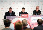 14 October 2019; Republic of Ireland manager Mick McCarthy with Seamus Coleman and FAI Director of Communications Cathal Dervan during a press conference at Stade de Genève in Geneva, Switzerland. Photo by Stephen McCarthy/Sportsfile