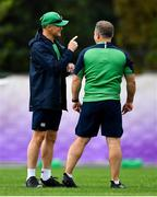 15 October 2019; Head coach Joe Schmidt, left, with kicking coach Richie Murphy during Ireland Rugby squad training in Arcs Urayasu Park in Urayasu, Aichi, Japan. Photo by Brendan Moran/Sportsfile