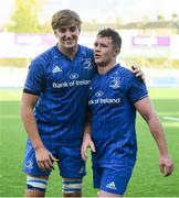13 October 2019; Charlie Ryan, left, and Ronan Watters of Leinster A following the Celtic Cup Final match between Leinster A and Ulster A at Energia Park in Donnybrook, Dublin. Photo by Ramsey Cardy/Sportsfile