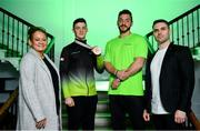 15 October 2019; In attendance during the Gymnastics Ireland Homecoming Press Conference at Ely Place in Dublin are, from left, Sally Johnson, Gymnastics Ireland Performance & Technical Manager, Rhys McClenaghan of Ireland, bronze medallist in the pommel-horse final during the 49th FIG Artistic Gymnastics World Championships, Luke Carson, Coach to Rhys McClenaghan, and Ciaran Gallagher, Gymnastics Ireland CEO. Photo by Sam Barnes/Sportsfile
