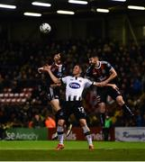 11 October 2019; James Finnerty, left, and Aaron Barry of Bohemians in action against Georgie Kelly of Dundalk during the SSE Airtricity League Premier Division match between Bohemians and Dundalk at Dalymount Park in Dublin. Photo by Eóin Noonan/Sportsfile