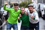 15 October 2019; Republic of Ireland supporters, from left, John Clarke, from Carlingford, Co. Louth, Cian McDonald, from Omeath, Co. Louth, and David Cummins, from Lucan, Co. Dublin, in Geneva prior to the UEFA EURO2020 Qualifier match between Switzerland and Republic of Ireland at Stade de Genève in Switzerland. Photo by Stephen McCarthy/Sportsfile