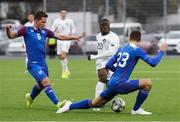 15 October 2019; Michael Obafemi of Republic of Ireland in action against Alex Hauksson, left, and Ari Leifsson of Iceland during the UEFA European U21 Championship Qualifier Group 1 match between Iceland and Republic of Ireland at Víkingsvöllur in Reykjavik, Iceland. Photo by Eythor Arnason/Sportsfile