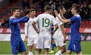15 October 2019; Iceland players Finnur Tómas Pálmason, right, and Alfons Sampsted celebrate following the UEFA European U21 Championship Qualifier Group 1 match between Iceland and Republic of Ireland at Víkingsvöllur in Reykjavik, Iceland. Photo by Eythor Arnason/Sportsfile