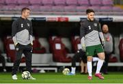 15 October 2019; Republic of Ireland assistant coach Robbie Keane and Aaron Connolly prior to the UEFA EURO2020 Qualifier match between Switzerland and Republic of Ireland at Stade de Genève in Geneva, Switzerland. Photo by Seb Daly/Sportsfile