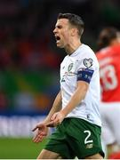 15 October 2019; Seamus Coleman of Republic of Ireland reacts after a foul is given against him during the UEFA EURO2020 Qualifier match between Switzerland and Republic of Ireland at Stade de Genève in Geneva, Switzerland. Photo by Seb Daly/Sportsfile