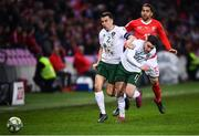 15 October 2019; Aaron Connolly, right, and Seamus Coleman of Republic of Ireland in action against Ricardo Rodríguez of Switzerland during the UEFA EURO2020 Qualifier match between Switzerland and Republic of Ireland at Stade de Genève in Geneva, Switzerland. Photo by Stephen McCarthy/Sportsfile