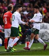 15 October 2019; Scott Hogan of Republic of Ireland with Aaron Connolly as he is substituted in the second half during the UEFA EURO2020 Qualifier match between Switzerland and Republic of Ireland at Stade de Genève in Geneva, Switzerland. Photo by Stephen McCarthy/Sportsfile