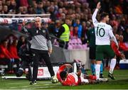 15 October 2019; Republic of Ireland manager Mick McCarthy calls for a Republic of Ireland throw-in during the UEFA EURO2020 Qualifier match between Switzerland and Republic of Ireland at Stade de Genève in Geneva, Switzerland. Photo by Stephen McCarthy/Sportsfile