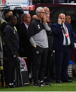 15 October 2019; Republic of Ireland manager Mick McCarthy reacts during the UEFA EURO2020 Qualifier match between Switzerland and Republic of Ireland at Stade de Genève in Geneva, Switzerland. Photo by Stephen McCarthy/Sportsfile