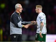 15 October 2019; Republic of Ireland manager Mick McCarthy and James McClean following the UEFA EURO2020 Qualifier match between Switzerland and Republic of Ireland at Stade de Genève in Geneva, Switzerland. Photo by Seb Daly/Sportsfile