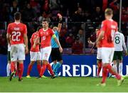 15 October 2019; Seamus Coleman of Republic of Ireland, right, is shown a red card by referee Szymon Marciniak during the UEFA EURO2020 Qualifier match between Switzerland and Republic of Ireland at Stade de Genève in Geneva, Switzerland. Photo by Seb Daly/Sportsfile