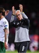 15 October 2019; Republic of Ireland manager Mick McCarthy reacts following the UEFA EURO2020 Qualifier match between Switzerland and Republic of Ireland at Stade de Genève in Geneva, Switzerland. Photo by Stephen McCarthy/Sportsfile