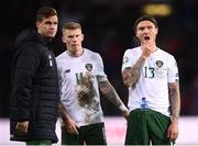 15 October 2019; James Collins, left, Jeff Hendrick, right, and James McClean of Republic of Ireland react after the UEFA EURO2020 Qualifier match between Switzerland and Republic of Ireland at Stade de Genève in Geneva, Switzerland. Photo by Stephen McCarthy/Sportsfile