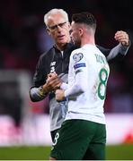 15 October 2019; Republic of Ireland manager Mick McCarthy with Alan Browne following the UEFA EURO2020 Qualifier match between Switzerland and Republic of Ireland at Stade de Genève in Geneva, Switzerland. Photo by Stephen McCarthy/Sportsfile