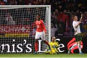 15 October 2019; Edimilson Fernandes of Switzerland celebrates his side's second goal of the game, via a deflection off of Shane Duffy of Republic of Ireland, during the UEFA EURO2020 Qualifier match between Switzerland and Republic of Ireland at Stade de Genève in Geneva, Switzerland. Photo by Stephen McCarthy/Sportsfile