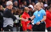 15 October 2019; Republic of Ireland manager Mick McCarthy shakes hands with referee Szymon Marciniak following the UEFA EURO2020 Qualifier match between Switzerland and Republic of Ireland at Stade de Genève in Geneva, Switzerland. Photo by Stephen McCarthy/Sportsfile