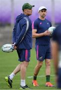 16 October 2019; Head coach Rassie Erasmus, left, and defence consultant Felix Jones during South Africa squad training at Fuchu Asahi Football Park in Tokyo, Japan. Photo by Ramsey Cardy/Sportsfile