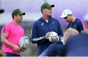 16 October 2019; Head coach Rassie Erasmus, centre, technical analyst Lindsay Weyer, left, and defence consultant Felix Jones during South Africa squad training at Fuchu Asahi Football Park in Tokyo, Japan. Photo by Ramsey Cardy/Sportsfile