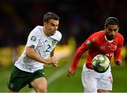 15 October 2019; Seamus Coleman of Republic of Ireland in action against Ricardo Rodríguez of Switzerland during the UEFA EURO2020 Qualifier match between Switzerland and Republic of Ireland at Stade de Genève in Geneva, Switzerland. Photo by Seb Daly/Sportsfile