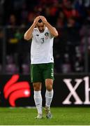 15 October 2019; Enda Stevens of Republic of Ireland after his side concedes a second goal during the UEFA EURO2020 Qualifier match between Switzerland and Republic of Ireland at Stade de Genève in Geneva, Switzerland. Photo by Seb Daly/Sportsfile