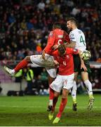 15 October 2019; Shane Duffy of Republic of Ireland in action against Manuel Akanji and Nico Elvedi of Switzerland during the UEFA EURO2020 Qualifier match between Switzerland and Republic of Ireland at Stade de Genève in Geneva, Switzerland. Photo by Seb Daly/Sportsfile