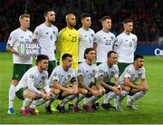 15 October 2019; Republic of Ireland players, back row, from left, James McClean, Shane Duffy, Darren Randolph, John Egan, James Collins and Alan Browne, front row, from left, Aaron Connolly, Seamus Coleman, Jeff Hendrick, Glenn Whelan and Enda Stevens prior to the UEFA EURO2020 Qualifier match between Switzerland and Republic of Ireland at Stade de Genève in Geneva, Switzerland. Photo by Seb Daly/Sportsfile