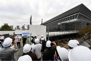 16 October 2019; Members of the media are briefed on the progress of construction at the Tokyo Aquatic Centre, Tokyo 2020 Summer Olympic Games venue for swimming, artistic swimming and diving, during the Tokyo 2nd World Press Briefing venue tour ahead of the 2020 Tokyo Summer Olympic Games. The Tokyo 2020 Games of the XXXII Olympiad take place from Friday 24th July to Sunday 9th August 2020 in Tokyo, Japan, the second Summer Olympics Games to be held in Tokyo, the first being 1964. Photo by Brendan Moran/Sportsfile
