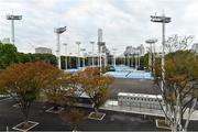 16 October 2019; The outside courts at the Ariake Tennis Park, Tokyo 2020 Summer Olympic Games venue for tennis, during the Tokyo 2nd World Press Briefing venue tour ahead of the 2020 Tokyo Summer Olympic Games. The Tokyo 2020 Games of the XXXII Olympiad take place from Friday 24th July to Sunday 9th August 2020 in Tokyo, Japan, the second Summer Olympics Games to be held in Tokyo, the first being 1964. Photo by Brendan Moran/Sportsfile