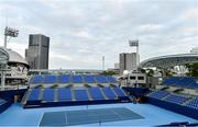 16 October 2019; Court No. 1 at the Ariake Tennis Park, Tokyo 2020 Summer Olympic Games venue for tennis, during the Tokyo 2nd World Press Briefing venue tour ahead of the 2020 Tokyo Summer Olympic Games. The Tokyo 2020 Games of the XXXII Olympiad take place from Friday 24th July to Sunday 9th August 2020 in Tokyo, Japan, the second Summer Olympics Games to be held in Tokyo, the first being 1964. Photo by Brendan Moran/Sportsfile
