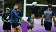 17 October 2019; Rob Kearney passes the ball to team-mate Jordan Larmour during Ireland Rugby squad training in Arcs Urayasu Park in Urayasu, Aichi, Japan. Photo by Brendan Moran/Sportsfile