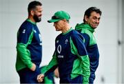 17 October 2019; Head coach Joe Schmidt, with defence coach Andy Farrell, left, and IRFU Performance Director David Nucifora during Ireland Rugby squad training in Arcs Urayasu Park in Urayasu, Aichi, Japan. Photo by Brendan Moran/Sportsfile