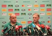 17 October 2019; Captain Rory Best, left, and head coach Joe Schmidt during an Ireland rugby press conference at the Hilton Tokyo Bay in Urayasu, Aichi, Japan. Photo by Ramsey Cardy/Sportsfile