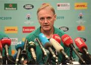 17 October 2019; Head coach Joe Schmidt during an Ireland rugby press conference at the Hilton Tokyo Bay in Urayasu, Aichi, Japan. Photo by Ramsey Cardy/Sportsfile