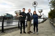 17 October 2019; John Gillick, AIG Head of Sponsorship with Dublin footballer Davy Byrne and Ladies footballer Niamh Collins were welcomed at sponsor AIG Insurance's head office in Dublin today by employees to mark their recent All-Ireland wins and help launch new celebratory Car and Home Insurance discounts being announced at AIG Head Office, North Wall Quay in Dublin.  Photo by Matt Browne/Sportsfile