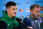 18 October 2019; Jonathan Sexton, left, and kicking coach Richie Murphy during an Ireland rugby press conference at the Tokyo Stadium in Chofu, Japan. Photo by Ramsey Cardy/Sportsfile