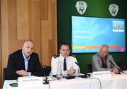18 October 2019; Declan Conroy, Project Leader, UEFA EURO 2020, Dublin, left, Superintendent Tim Burke, Donnybrook Garda Station, and Barry Kenny, Iarnród Éireann Head of Corporate Communications, right, during a media briefing, at the Aviva Stadium, where it was announced Lansdowne Road DART Station will close temporarily on the evening of Monday, 18th November for the UEFA EURO 2020 Qualifying match between Republic of Ireland and Denmark. This closure, which will take place between 5.30pm and 11pm, is part of a trial operational exercise ahead of the Aviva Stadium's hosting of four games during UEFA EURO 2020 next summer. DART services will continue as scheduled, but passengers will be required to disembark at either Grand Canal Dock DART Station or Sandymount DART Station during the closure. The matches at EURO 2020 will have different profiles, requirements, mobility patterns, and ticketing systems to a normal game at Aviva Stadium. Following reviews at UEFA Tournament and Finals, UEFA has made a recommendation to increase the size of the Outer Perimeter in order to ensure there is no congestion in all areas around the Aviva Stadium.  Photo by Stephen McCarthy/Sportsfile