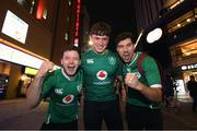 18 October 2019; Ireland Rugby supporters, from left, Barry McCormack, James Keavney and Tomas Kitt, all from Mountbellew, Co Galway, in Tokyo ahead of their side's 2019 Rugby World Cup Quarter-Final match against New Zealand. Photo by Ramsey Cardy/Sportsfile