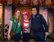 18 October 2019; Ireland Rugby supporters Amy McDermott and Anthony Gaskin with Japan Rugby supporter Aki Maito in Tokyo ahead of their side's 2019 Rugby World Cup Quarter-Final match against New Zealand. Photo by Ramsey Cardy/Sportsfile