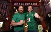 18 October 2019; Ireland Rugby supporters Bill Lyons, left, and Stephen Prendergast, from Tipperary, in Tokyo ahead of their side's 2019 Rugby World Cup Quarter-Final match against New Zealand. Photo by Ramsey Cardy/Sportsfile