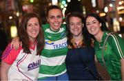 18 October 2019; Ireland Rugby supporters, from left, Eileen Foyle, Adele Gallagher, Elaine Toomey and Claire Gallagher in Tokyo ahead of their side's 2019 Rugby World Cup Quarter-Final match against New Zealand. Photo by Ramsey Cardy/Sportsfile